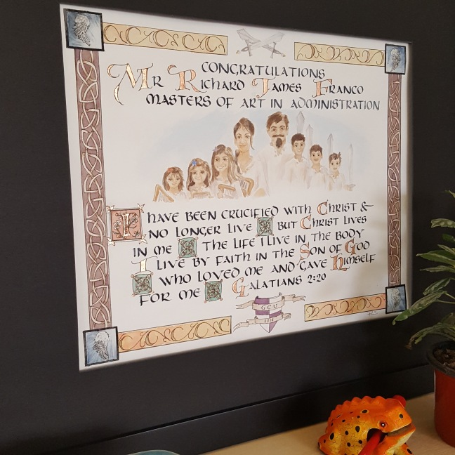 Galatians Medieval Graduation gift. Art & Calligraphy by Renee McAdam of Case Sensitive Designs LLC