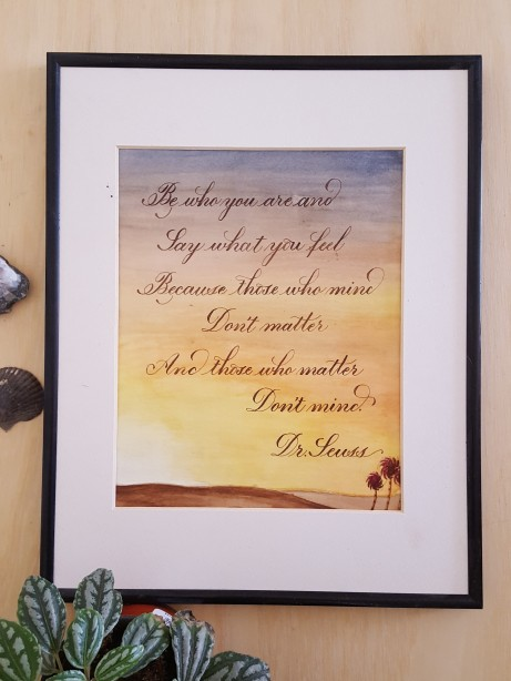 Dr. Seuss Excerpt. Original Watercolor and Calligraphy by Case Sensitive Designs LLC