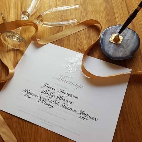 Calligraphy by Hand on Wedding Certificate