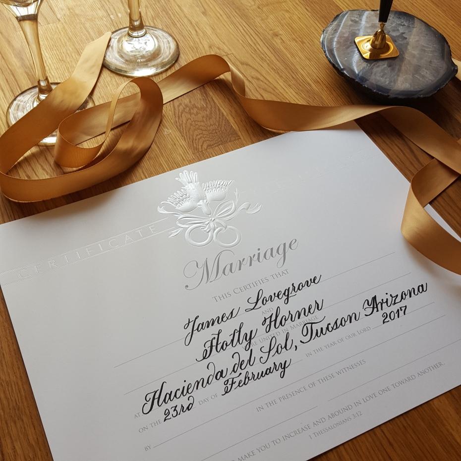 Hand calligraphed wedding certificate