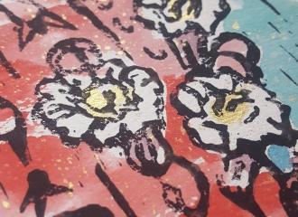 """Saguaro Blooms"" Limited Edition Linoleum Print"