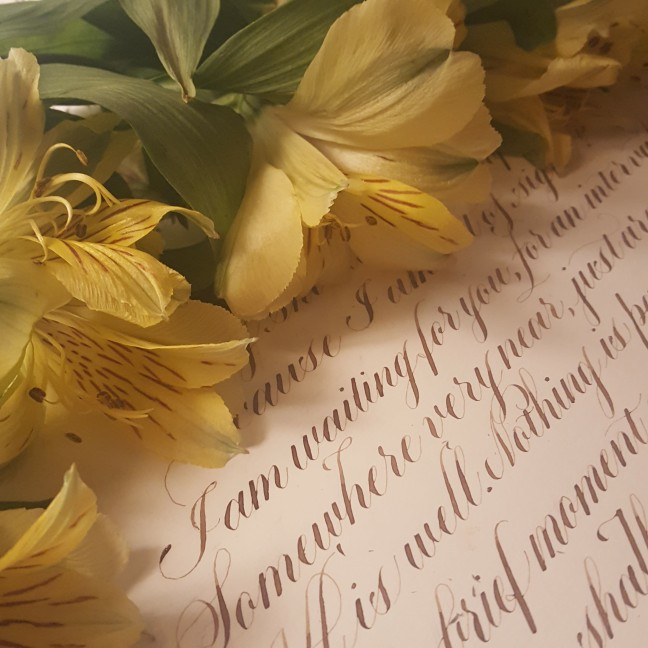 calligraphy, illustration, copperplate, copperplate script, poem, poetry, death, bereavement, family, loved ones, art, artist, pointed pen, walnut ink, alstroemerias, flowers, fresh flowers, micron pen