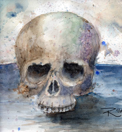 Watercolor painting by Renee McAdam of a lonely skull.