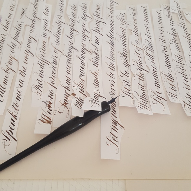 Calligraphy practice cut into strips