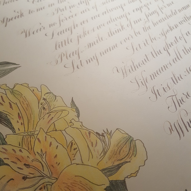 Completed Calligraphy and Flowers