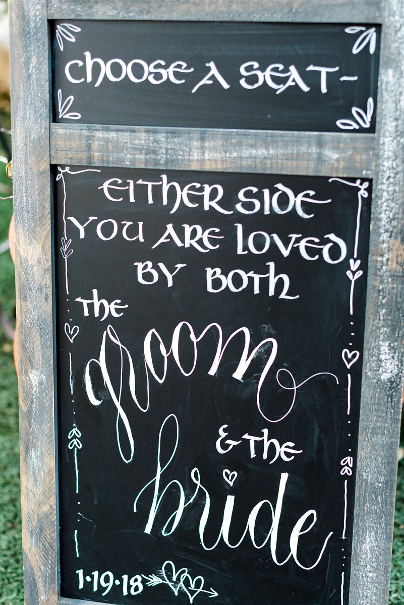 """Choose a seat, either side, you're loved by both the groom and the bride."""