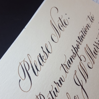 Hand written information card in calligraphy for a wedding